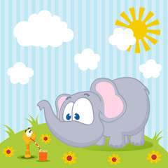 Elephant and worm vector