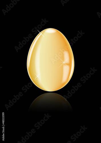 Oeuf en or - Reflet - Fond noir - Pâques