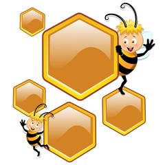 Bee Cartoon with Beehive Cells-Ape Cartoon e Celle Alverare