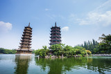 Banyan Lake Pagodas, Guilin, China ,one represents the sun,