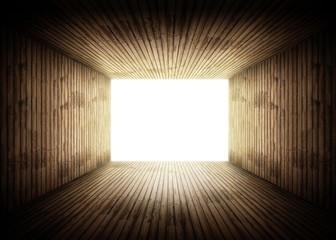 lumière tunnel bois