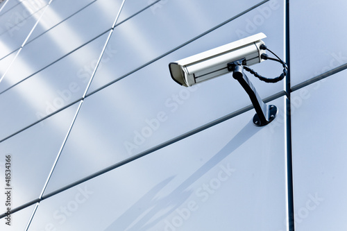Leinwanddruck Bild Überwachungskamera - Hochhaus - Alarmanlage