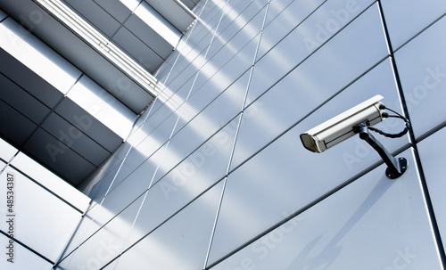 Leinwanddruck Bild Videoüberwachung - Hochhaus