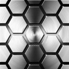 Metal Modern Background with Hexagons