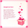 Greeting card with ornate box of hearts and lacy frame