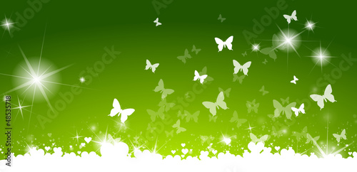 Green card with butterflies and hearts