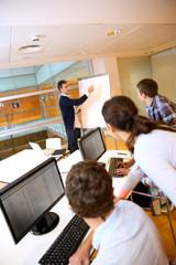 Teacher in lab doing presentation on whiteboard