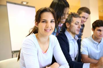 Portrait of student attending training class
