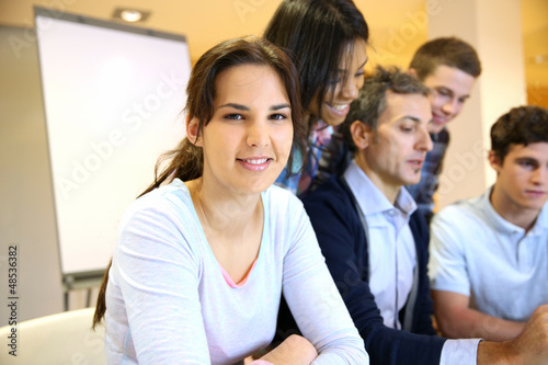 Portrait of student attending training class