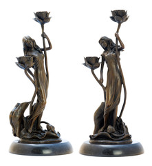Antique bromze candelabrum with woman's figurine.