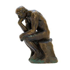 Antique bronze figurine of the naked thinker man.