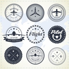 Set of vintage aviation labels