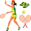 Tennis vector illustration set