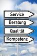 Wegweiser mit Service, Beratung, Qualität und Kompetenz