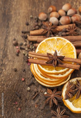 Dried orange, cinnamon sticks and star anise