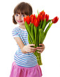 little girl with bunch of flowers - mothers day