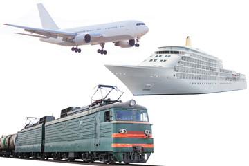 airplane, train and  cruise ship
