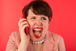 Angry phone call on the smartphone
