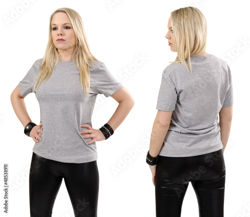 Blond woman posing with blank gray shirt