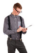 Young man writing in clip board