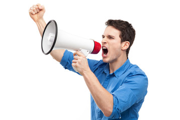 Man shouting through megaphone