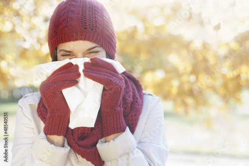 Women with tissue having flu or allergy