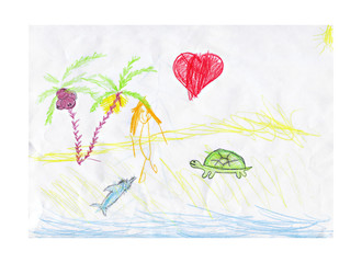 Child's drawing, sunny beach and the heart