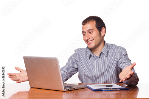 Young Man Working with Computer
