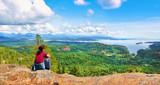 Woman enjoying the view on Vancouver Island, BC, Canada - Fine Art prints