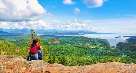 Woman enjoying the view on Vancouver Island, BC, Canada