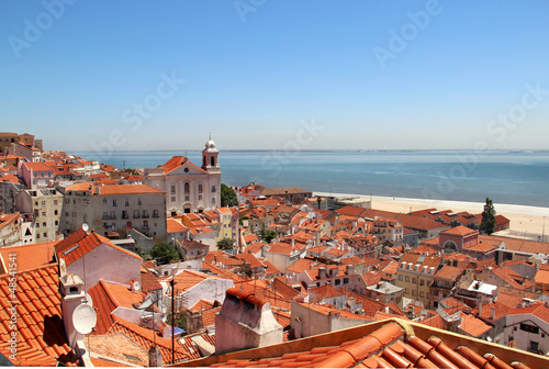 Poster Beautiful view of Lisbon city, Portugal