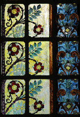 Stained glass window in Saint-Eustache church, Paris