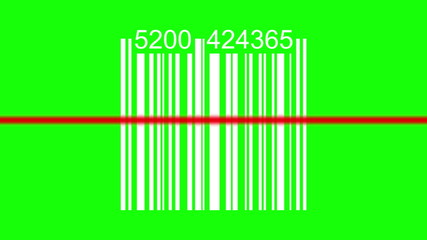 Barcode with red laser in positive, negative and green screen.