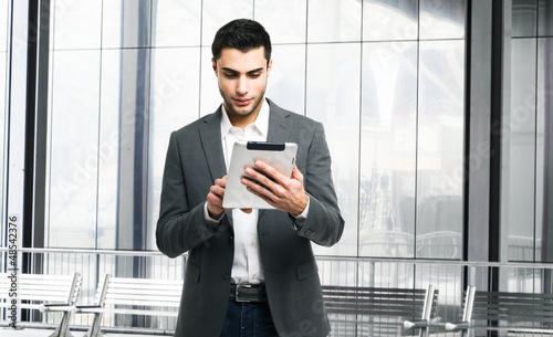 Man using his tablet computer