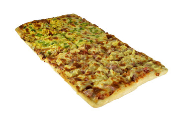 Isolated Large Rectangular Pizza