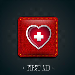 First aid and heart icon leather