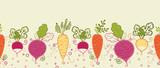 Fototapety Vector root vegetables horizontal seamless pattern background
