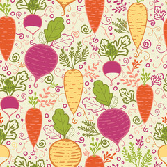 Vector root vegetables seamless pattern background with hand