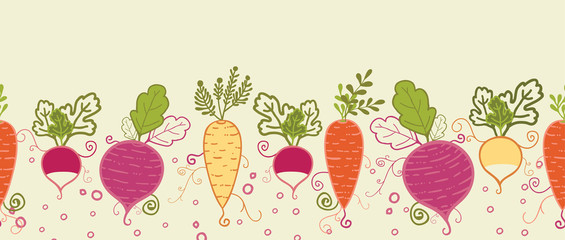 Vector root vegetables horizontal seamless pattern background