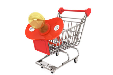Red pacifier in shopping cart