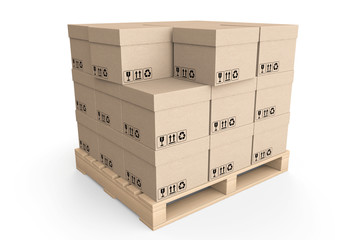 Logistics concept. Cardboard boxes on wooden palette