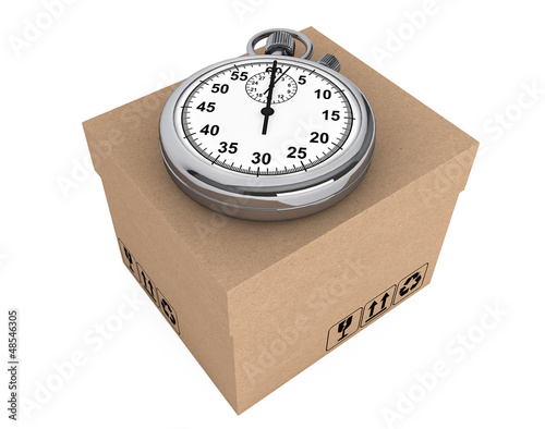 Logistic concept. Stopwatch and box