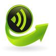 bouton réseau flêche verte