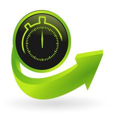 bouton chronomètre flêche verte