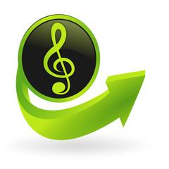 bouton note de musique flêche verte