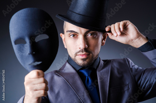 Man with masks in hypocrisy concept