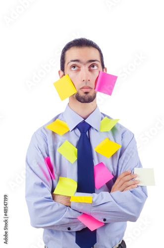Man with lots of reminder notes
