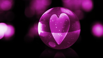 heart in pink glass ball with snow