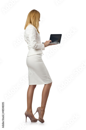Attractive businesswoman with laptop on white