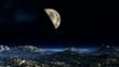 Planet against a fantastic landscape